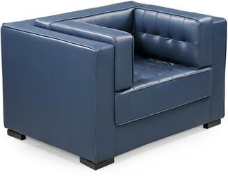 Chic Home Lorenzo Navy Leather Club Chair