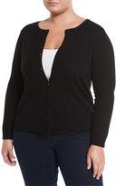 Neiman Marcus Cashmere Button-Front Cardigan, Black, Plus Size