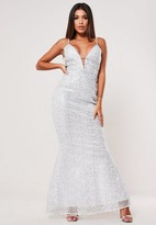 Missguided Silver Strappy Sequin Fishtail Maxi Dress