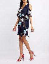 Charlotte Russe Floral Surplice Cold Shoulder Dress