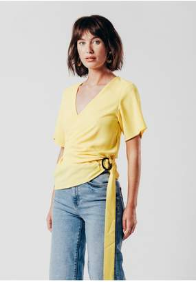 Oeuvre Yellow Wrap Over Blouse With Buckle