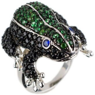 Cz By Kenneth Jay Lane Rhodium Plated Pave CZ Striped Frog Statement Ring