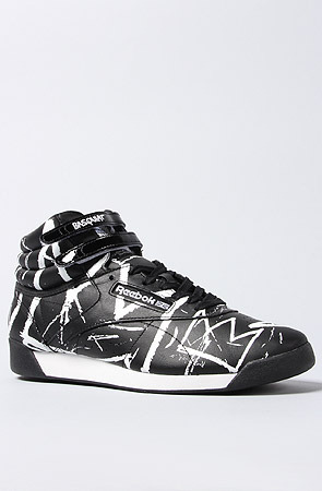 Reebok The x Basquiat Freestyle Hi Sneakers in Black and White Crown