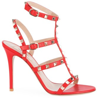 Valentino Rockstud T-Strap Leather Sandals