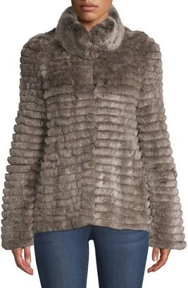 Glamour Puss Lamb Fur Baseball Jacket