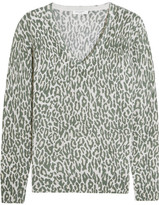 Equipment Cecile Leopard-print Cashmere Sweater - Army green