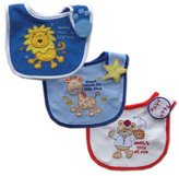 Luvable Friends 3-Pack Side-Closure, Applique & Embroidery Baby Bibs, Boy Set