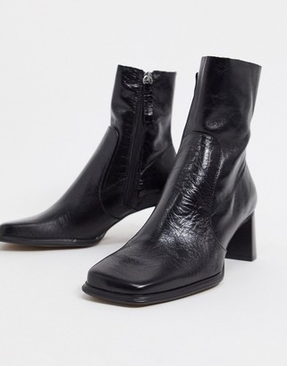 ASOS DESIGN Roisin premium leather square toe boots in black