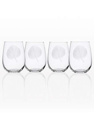 Rolf Glass Aspen Leaf Stemless Wine Tumbler 17Oz - Set Of 4 Glasses