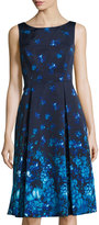 Adrianna Papell Fit-and-Flare Floral-Print Dress, Blue/Multi