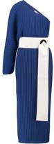SOLACE London Drew One-Shoulder Plissé-Satin Midi Dress