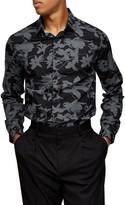 Topman Slim Fit Shadow Floral Print Button-Up Shirt