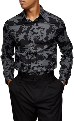 Topman Slim Fit Shadow Floral Print Button-Up Shirt
