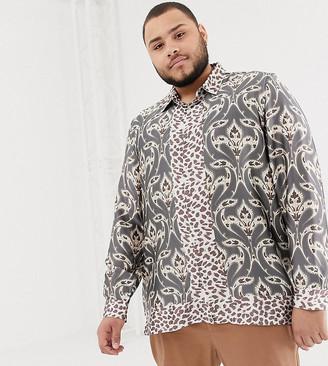Asos DESIGN Plus regular fit satin mix & match paisley print shirt