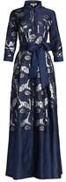 Thumbnail for your product : Teri Jon by Rickie Freeman Metallic Jacquard Floral Shirt Gown