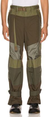 Sacai Fabric Combo Pants in Khaki | FWRD
