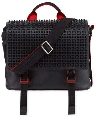 496d62e1fbc Men's Spike Leather Messenger Bag
