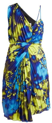 MSGM Tie-dye Pleated One-shoulder Dress - Yellow