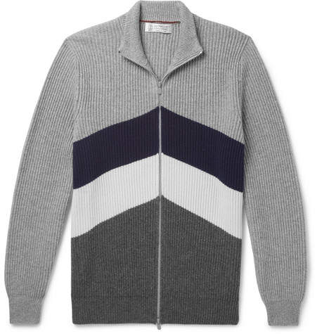 Brunello Cucinelli Slim-Fit Chevron Ribbed Cashmere Zip-Up Cardigan - Men - Gray