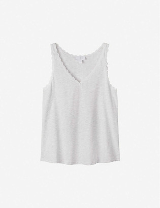 The White Company Lace-trimmed sleeveless cotton top