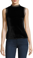 MinkPink Mink Pink Tell-Tale Lace-Trim Velvet Top, Black