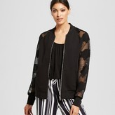 Mossimo Women's Mesh Sleeve Floral Applique Bomber Jacket Black