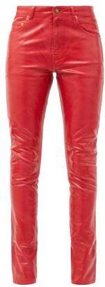 Saint Laurent Mid-rise Vinyl-coated Skinny-leg Jeans - Red