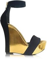 Balmain Samara Black Suede and Gold Metallic Leather Wedge Sandal