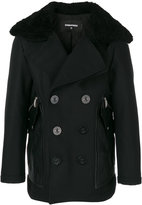 DSQUARED2 double breasted coat - men - Calf Leather/Polyamide/Polyester/Virgin Wool - 50