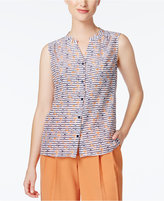 Nine West Sleeveless Anchor-Print Blouse