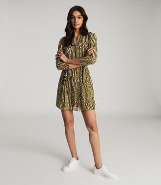 Reiss Elvina - Spot Printed Mini Dress in Khaki Print