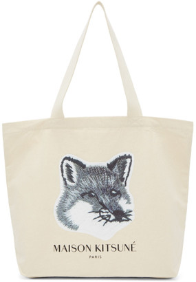 MAISON KITSUNÉ SSENSE Exclusive Off-White and Grey Fox Head Tote