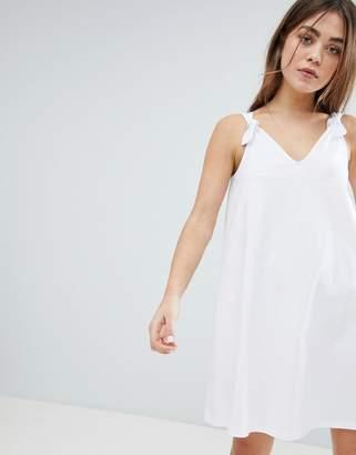 Asos Design DESIGN knot strap mini swing dress-White