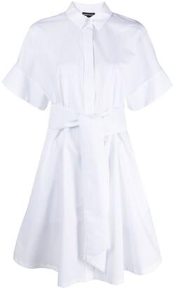 Emporio Armani Tied-Waist Cotton Shirt Dress