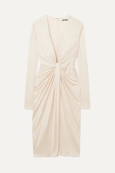 Tom Ford Twist-front Satin-jersey Dress - Off-white