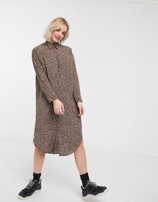 Monki speckled print shirt dress in brown