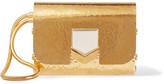 Jimmy Choo Lockett Hammered Gold-tone Clutch - one size