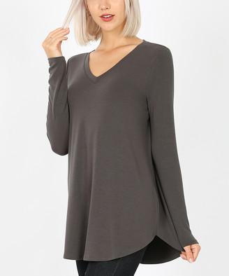 Ash Zenana Women's Tee Shirts  Gray Round-Hem Long-Sleeve V-Neck Tee - Women
