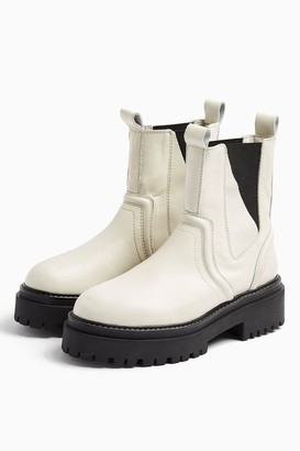 Topshop Womens Albie Ecru Leather Chunky Chelsea Boots - Off White