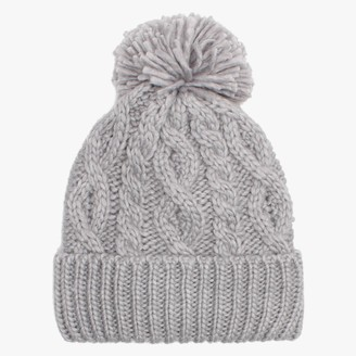 Little Red Grey Marino Pom Pom Hat