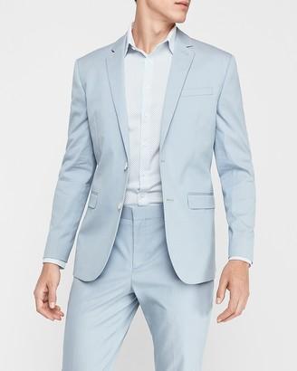 Express Slim Light Blue Cotton-Blend Stretch Suit Jacket