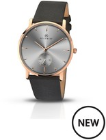 Accurist Accurist Grey Dial Rose Tone Case Black Leather Strap Mens Watch
