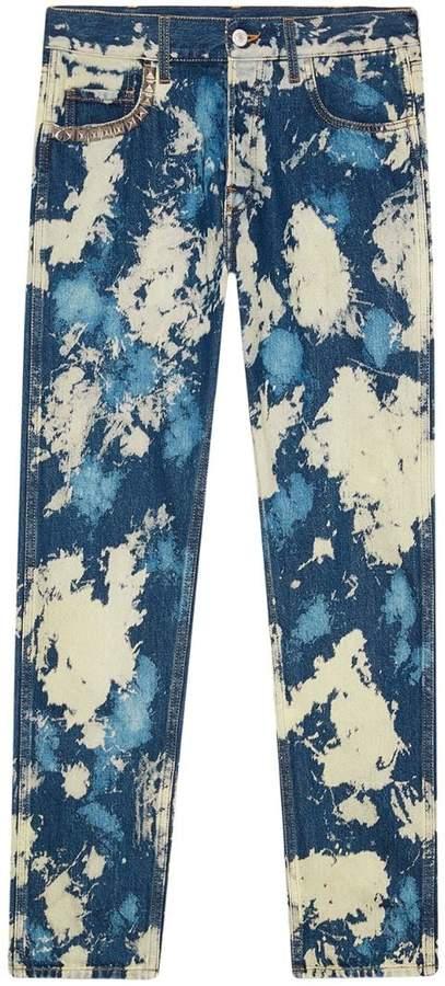 Gucci bleached denim punk pants