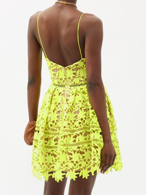 Thumbnail for your product : Self-Portrait Azaelea Guipure-lace Mini Dress - Green