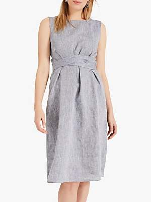 Phase Eight Cross Hatch Linen Dress, Chambray