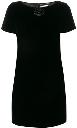 Saint Laurent Rose Applique Dress