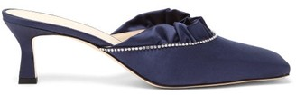 Wandler Isa Crystal-trimmed Satin Mules - Womens - Navy