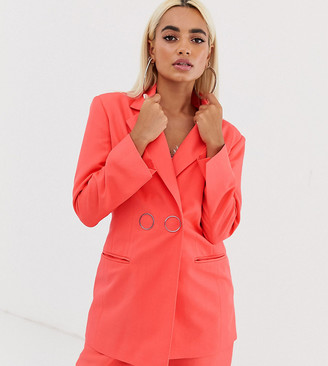 Asos DESIGN Petite strong shoulder suit blazer in coral-Orange