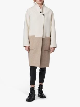 AllSaints Rylee Oversized Colour Block Wool Coat, Ecru/Beige