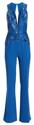 ZUHAIR MURAD Embellished V-Neck Jumpsuit